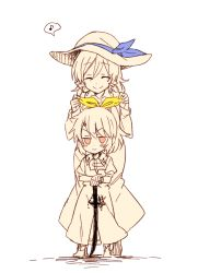 2girls bow drill_hair eyes_closed hair_bow hair_ribbon hat height_difference long_hair multiple_girls musical_note ponytail ribbon short_hair siblings sisters six_(fnrptal1010) smile spoken_musical_note spot_color sword touhou watatsuki_no_toyohime watatsuki_no_yorihime weapon younger