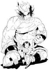 2boys bottle fang father_and_son grin horns male monochrome multiple_boys muscle oni original pointy_ears sake_bottle shirtless size_difference smile zngo