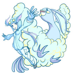 1girl :o altaria covanim flying full_body gloves goggles goggles_on_head gym_leader helmet long_hair nagi_(pokemon) open_mouth outstretched_arm outstretched_arms pokemon pokemon_(creature) pokemon_(game) pokemon_oras ponytail simple_background white_background