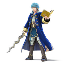 1boy blue_hair book brown_eyes fire_emblem fire_emblem:_kakusei high_collar long_coat looking_at_viewer male my_unit official_art photoshop solo super_smash_bros. sword weapon