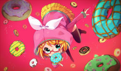 1girl alternate_costume bangs black_legwear blonde_hair blurry bow depth_of_field doughnut eating eyebrows eyebrows_visible_through_hair food food_in_mouth food_on_face from_above glasses hair_ornament hairclip holding holding_food hood ikari_(aor3507) kagamine_rin layered_skirt long_sleeves miniskirt outstretched_arm red-framed_glasses red_background short_hair skirt solo swept_bangs thighhighs vocaloid white_bow yellow_skirt