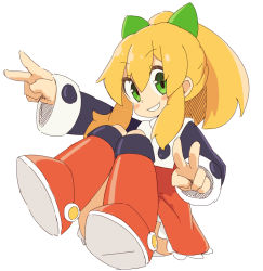 1girl blonde_hair blush_stickers boots double_v eyebrows_visible_through_hair female green_eyes grin hair_ribbon panties ponytail rockman rockman_(classic) roll simple_background smile solo white_background zizi_niisan