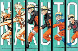 6+boys age_progression blonde_hair character_name column_lineup copyright_name forehead_protector goggles goggles_on_head grin headband kishimoto_masashi multiple_boys multiple_persona naruto naruto_shippuuden running sequential short_hair smile spiked_hair text uzumaki_naruto younger