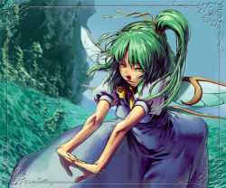 1girl blue_dress daiyousei dress fairy female frame green_hair higashiyama_hayato lake looking_at_viewer mountain short_sleeves side_ponytail slit_pupils solo touhou water wings