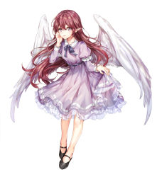 1girl angel_wings black_eyes black_ribbon black_shoes blush closed_mouth dress dress_lift full_body juliet_sleeves leaning_forward lifted_by_self long_hair long_sleeves looking_at_viewer neck_ribbon original petticoat pointy_ears puffy_sleeves purple_dress red_hair ribbon shoes solo very_long_hair white_wings wings yuli_(yulipo)