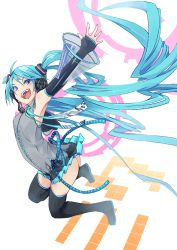 1girl ass blue_eyes blue_hair boots character_name detached_sleeves elbow_gloves fingerless_gloves fu-ta gloves hatsune_miku headphones headset jumping long_hair necktie open_mouth outstretched_arms skirt solo spread_arms thigh_boots thighhighs twintails very_long_hair vocaloid white_background