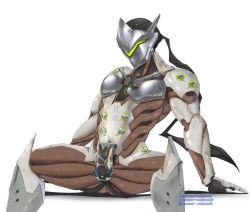 1boy armor cum ejaculation electric erection genji_(overwatch) male_focus mask orgasm overwatch penis sitting solo sweat testicles