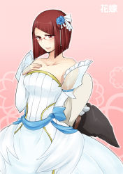 1girl bare_shoulders breasts bride detached_sleeves fire_emblem fire_emblem:_kakusei flower glasses hair_flower hair_ornament hand_on_own_chest hat holding holding_hat medium_breasts miriel_(fire_emblem) no_hat red_eyes red_hair short_hair shougayaki_(kabayaki_3) solo witch_hat