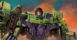 bird caterpillar_tracks clenched_hand cloud cropped_legs damaged decepticon devastator_(transformers) dusk flying insignia looking_at_viewer mecha realistic redesign robot science_fiction signature size_difference transformers upper_body valzonline watermark