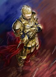 1boy armor blonde_hair crossed_arms fate/stay_night fate_(series) gilgamesh hair_slicked_back higashiyama_hayato solo standing
