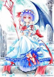 1girl adapted_costume alternate_costume ascot bare_shoulders bat_wings blue_rose detached_sleeves dress flower frills full_body hat hat_ribbon lakestep55 lavender_hair looking_at_viewer mob_cap petals puffy_sleeves red_eyes remilia_scarlet ribbon rose sash shoes short_hair short_sleeves sitting smile solo spear_the_gungnir stairs text touhou wings