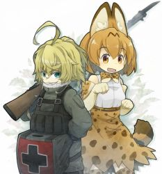 2girls ahoge animal_ears bare_shoulders belt blonde_hair blue_eyes blush bow bowtie commentary_request cowboy_shot crossover elbow_gloves gloves grin gun hair_between_eyes high-waist_skirt iron_cross kemono_friends lama_(kusuriya) long_sleeves looking_at_viewer military military_uniform multiple_girls open_mouth paw_pose ponytail serval_(kemono_friends) serval_ears serval_print serval_tail shirt short_hair skirt sleeveless smile solo tail tanya_degurechaff uniform weapon youjo_senki