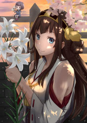 2girls 41cm_twin_gun_mount :3 blue_eyes blush brick_wall brown_hair fairy_(kantai_collection) fence flower glasses hair_bun hairband holding holding_flower kantai_collection kneehighs kongou_(kantai_collection) lily_(flower) long_hair long_sleeves looking_at_viewer minigirl multiple_girls nontraditional_miko outdoors pleated_skirt revision ribbon-trimmed_sleeves ribbon_trim rimless_glasses school_uniform serafuku shirt shoes short_hair sitting skirt smile usami_(ym1989) wall white_legwear |_|