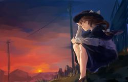 1girl black_shoes bow bridge brown_eyes brown_hair capelet hair_bow hair_ribbon hand_on_headwear hat hat_bow kazusa_(_0576861614433) necktie open_mouth ribbon short_hair sitting skirt smile solo sunset telephone_pole touhou usami_renko white_background
