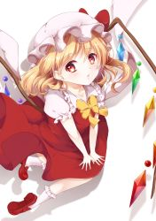 1girl arm_support blonde_hair colored_eyelashes crystal flandre_scarlet hair_between_eyes hat hat_ribbon highres lips looking_at_viewer mob_cap mumu-crown pouty_lips puffy_short_sleeves puffy_sleeves red_eyes red_ribbon red_skirt red_vest ribbon shirt short_sleeves side_ponytail skirt touhou white_shirt wings