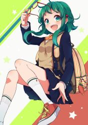 ahoge backpack bag bespectacled blazer blue_skirt blush bow bowtie braid buckle carrot collared_shirt gem glasses green_eyes green_hair gumi hair_ornament hairpin highres jewelry kneehighs long_sleeves looking_at_viewer multicolored_background nou open_blazer open_clothes open_mouth orange_bow orange_bowtie red-framed_glasses removing_glasses ribbon ruby_(stone) school_bag school_uniform shirt shoelaces shoes short_hair sidelocks simple_background single_braid skirt sneakers striped striped_backpack sweater_vest tareme thighs vocaloid white_legwear white_shirt yellow_ribbon