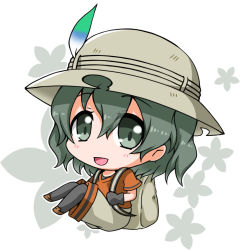 1girl :d backpack bag black_eyes black_gloves black_hair blush chibi eyebrows_visible_through_hair eyelashes floating floral_background full_body gloves hair_between_eyes hat kaban kemono_friends knees_together_feet_apart loafers looking_at_viewer noai_nioshi open_mouth outline pants pantyhose red_shirt safari_hat shirt shoes short_hair short_sleeves smile solo tareme white_background white_outline