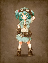 1girl aqua_eyes aqua_hair arinu boots brown_gloves gloves goggles goggles_on_head hair_bobbles hair_ornament jacket jewelry kawashiro_nitori key necklace open_clothes open_jacket pendant shirt skirt smile solo standing touhou twintails wrench