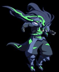 1boy abs animated arc_system_works armor blazblue blazblue:_central_fiction breathing fingernails game_sprite long_hair mask muscle pixel_art sharp_teeth spoilers stance susano'o_(blazblue) tail