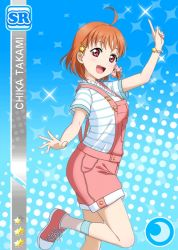 ahoge blush character_name dress hair_ornament happy looking_at_viewer love_live!_school_idol_festival love_live!_sunshine!! official_art orange_hair overalls red_eyes short_hair smile sneakers striped_shirt takami_chika tress_ribbon