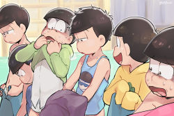 6+boys :d black_eyes black_hair blue_pants bottomless bowing briefs brothers brown_eyes closed_mouth commentary_request d: dressing frown hood hood_down hoodie indoors kl lineup looking_to_the_side male_focus matsuno_choromatsu matsuno_ichimatsu matsuno_juushimatsu matsuno_karamatsu matsuno_osomatsu matsuno_todomatsu messy_hair multiple_boys navel no_pants open_mouth open_pants osomatsu-kun osomatsu-san pants print_shirt scared sextuplets shaded_face shirt shirtless siblings sigh sleeves_past_wrists smile standing sweat tank_top twitter_username undershirt underwear wavy_mouth white_shirt