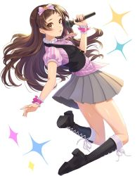 1girl blush boots bow brown_eyes brown_hair commentary_request cross-laced_footwear full_body hair_bow highres idolmaster idolmaster_million_live! joey_koguma kitazawa_shiho lace-up_boots long_hair looking_at_viewer microphone pleated_skirt skirt smile solo