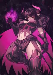 1girl black_hair breasts cape cleavage gore_magala horns long_hair monster_hunter personification pointy_ears purple_eyes solo thighhighs