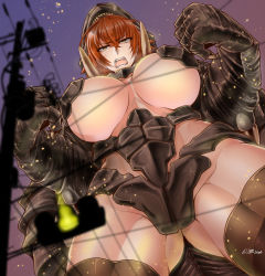 1girl breasts brown_eyes brown_hair gamera giantess huge_breasts monster_girl open_mouth personification saizu_nitou_gunsou solo underboob