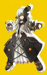 1girl arm_up black_boots black_dress black_gloves boots code:_exotic_(elsword) dress elsword eve_(elsword) expressionless forehead_jewel gloves highres long_hair official_art ress simple_background solo white_hair yellow_background yellow_eyes