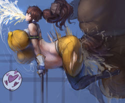 1girl all_the_way_through anal bouncing_breasts breasts brown_hair cum cum_explosion ero_doll fat gigantic_breasts hair_pull huge_ass huge_penis inflation large_penetration monster penis pubic_hair sex stomach_bulge veiny_penis
