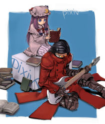 1boy 1girl aru-sci bad_id black_hair blue_eyes book character_request cosplay electric_guitar female glasses gloves guitar instrument long_hair mask patchouli_knowledge pixiv plectrum purple_hair reading sitting surgical_mask sweatdrop touhou trigun vash_the_stampede vash_the_stampede_(cosplay)