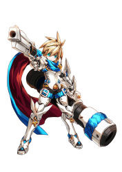 1boy armor blackjd83 blonde_hair boots cannon chung_(elsword) dual_wielding elsword gauntlets gloves greaves green_eyes gun male_focus official_art scarf solo spiked_hair standing weapon white_background