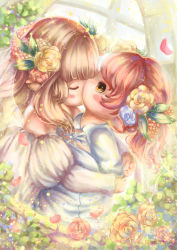 2girls absurdres artist_request blush couple final_fantasy final_fantasy_xiv kiss lalafell multiple_girls wedding wedding_dress wife_and_wife yuri