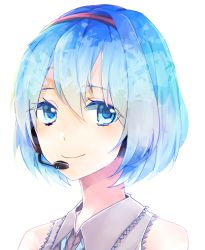 1girl 62_(0_62) alternate_hairstyle blue_eyes blue_hair hatsune_miku looking_at_viewer short_hair simple_background smile solo vocaloid white_background