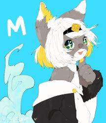 artist_request borrowed_character cat furry green_eyes open_mouth short_hair white_hair