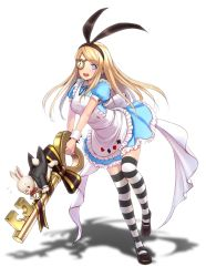 1girl :d alice_(wonderland) alice_in_wonderland apron bangs black_jacket black_ribbon black_shoes blonde_hair blue_dress blue_eyes blush bow breasts bunny clubs diamond_(shape) dress eyebrows eyebrows_visible_through_hair flying_sweatdrops frilled_apron frills full_body glasses hairband heart highres holding interlocked_fingers jacket key long_hair looking_at_viewer medium_breasts one_eye_covered open_mouth original oversized_object pince-nez pocket_watch puffy_short_sleeves puffy_sleeves red_bow red_eyes ribbon shadow shimashima08123 shoes short_sleeves smile spade standing standing_on_one_leg striped striped_bow striped_legwear swept_bangs tailcoat thighhighs v_arms watch white_apron white_background white_bow white_rabbit wrist_cuffs