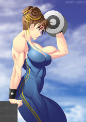 1girl alternate_costume bare_shoulders breasts brown_eyes brown_hair chun-li cleavage double_buns elee0228 female hair_bun large_breasts muscle nextartist parted_lips sleeveless solo street_fighter street_fighter_v toned weightlifting weights