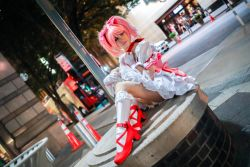 city cosplay kaname_madoka lana_rain magical_girl mahou_shoujo_madoka_magica photo sitting