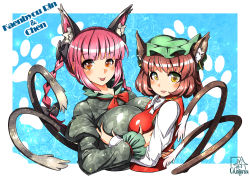 2girls animal_ears asymmetrical_docking black_dress bow braid breast_grab breast_press breasts brown_hair bust cat_ears cat_tail character_name chen dress ear_piercing earrings floral_print hair_bow hug jewelry juliet_sleeves kaenbyou_rin large_breasts long_sleeves looking_at_viewer mob_cap multiple_girls multiple_tails piercing puffy_sleeves red_dress red_eyes red_hair smile tail tongue tongue_out touhou twin_braids umigarasu_(kitsune1963) yellow_eyes