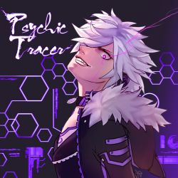 1boy add_(elsword) choker elsword facial_mark fur_trim grin hoodie jacket male messy_hair purple_background purple_eyes smile solo tattoo terevi white_hair wide-eyed