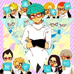 aqua_hair aqua_nails black_hair black_nails black_sclera blonde_hair cellphone cosplay crossed_arms curly_hair eyes_closed fang formaggio gelato ghiaccio ghiaccio_(cosplay) glasses grey_hair grin highres illuso jojo_no_kimyou_na_bouken melone nail_polish one_eye_closed open_mouth pesci phone prosciutto red_eyes red_hair red_nails risotto_nero ruri_(347sankaku) smile sorbet sparkle tongue tongue_out translation_request
