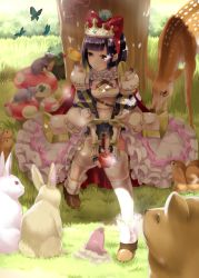1girl animal animal_on_head animal_on_shoulder armor bangs bear bird bird_on_head bird_on_shoulder black_hair blunt_bangs blush boots bow breasts bunny butterfly cherry chipmunk cleavage closed_mouth clover_(flower) day deer flower food fruit full_body gem grass hair_bow hand_on_own_knee highres holding holding_fruit mole mouse mouth_hold mushroom on_head original outdoors pink_eyes red_bow red_eyes revision rin2008 seed shade sitting skirt smile squirrel tiara tree