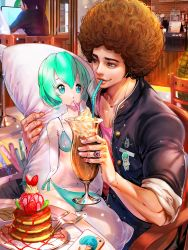 1boy absurdres afro aqua_eyes aqua_hair bendy_straw big_hair bikini brown_hair cellphone character_request dakimakura_(object) dating dessert drinking drinking_straw food fork fruit furyou_michi_~gang_road~ grey_eyes heart_ring highres holding iphone jewelry on_lap otaku pancake phone pillow revision ring short_hair sitting smartphone solo_focus sparkle strawberry swimsuit tae_seop_shin whipped_cream