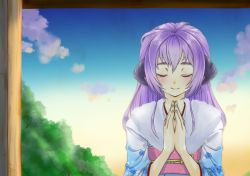 1girl blush cloud eyes_closed floral_print hands_together hanyuu highres higurashi_no_naku_koro_ni horns japanese_clothes kimono long_hair mirukixtotoko new_year obi praying purple_hair sash sky smile solo tree