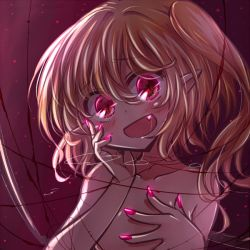 1girl blonde_hair blush fang flandre_scarlet flat_chest nail_polish nude open_mouth red_eyes red_nails red_string side_ponytail solo string touhou