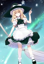 1girl apron arm_up artist_name blonde_hair bow broom crote dutch_angle frills gradient gradient_background hair_bow hair_ornament hat hat_ribbon kirisame_marisa long_hair looking_at_viewer mary_janes puffy_sleeves ribbon shirt shoes short_sleeves skirt skirt_set smile socks solo star touhou turtleneck vest waist_apron white_legwear witch_hat yellow_eyes