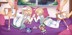 2boys 2girls ass bed blanc blush bound_ankles brown_hair choujigen_game_neptune choujigen_game_neptune_mk2 compile_heart dogoo eyes_closed feet foot_tickling hand_holding idea_factory laughing long_hair lying multiple_boys multiple_girls neptune_(series) night no_shoes open_mouth pantyhose pillow planeptune ram_(choujigen_game_neptune) rom_(choujigen_game_neptune) school_uniform shiny shiny_hair short_hair siblings sisters skirt smile soles stuffed_animal stuffed_toy tickling toes twins