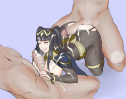 1girl 2boys all_fours ass between_breasts bodystocking bracelets breasts bridal_gauntlets buttjob cum cum_on_ass fire_emblem gangbang group_sex jewelry large_breasts large_penis lips lm_(legoman) long_hair multiple_boys paizuri penis sex tagme tharja threesome torn_clothes uncensored