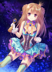 1girl bell blue_clothes bow braid breasts brown_hair cleavage corset crown double_bun eyebrows_visible_through_hair frills gem gloves hair_ornament highres holding long_hair mini_crown mofukoke multicolored multicolored_clothes orange_bow original purple_clothes red_eyes sky smile solo star star_(sky) star_hair_ornament star_print starry_sky striped striped_legwear swing thighhighs white_gloves