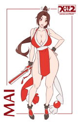 1girl bare_shoulders breasts brown_eyes brown_hair character_name cleavage closed_fan contrapposto fan fatal_fury female flat_color folding_fan full_body hand_on_hip japanese_clothes large_breasts looking_at_viewer matching_hair/eyes no_bra no_panties open_mouth pelvic_curtain ponytail revealing_clothes shiranui_mai solo the_king_of_fighters watermark web_address white_background wide_sleeves x-teal2